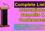Complete List of International Summits & Conferences-Download PDF