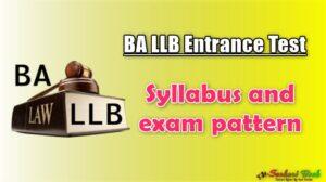 BA LLB Entrance Test Syllabus and exam pattern